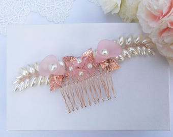 Rose gold hair comb, rose gold wedding hair comb, pink wedding hair piece, rose gold  bridal hair comb, bridal hair piece, flower hair comb