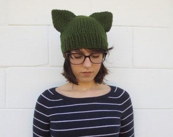 SALE - knit cat ear beanie - green cat ear beanie - neko hat - neko ears