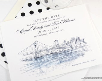 Pittsburgh Wedding Save the Date Cards, Save the Dates, Wedding, Hand Drawn (set of 25 cards)
