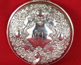 Vintage Silver Plated Pocket Mirror, Vanity Mirror