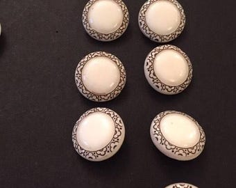 9 Vintage Buttons 1930 Art DEco Milk White Glass Old Stock Embossed Very good condition for clothing sewing costume craft accessories women
