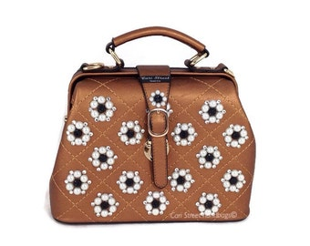 Cari Street handbags Doctor Bag Medium Sized Jeweled Top Handle Handbag Clutch Quilted Faux Leather Handbag Purse