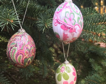 Floral Farm Egg Ornaments