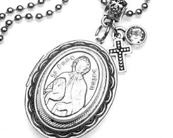 St. Elizabeth Ann Seton Catholic Holy Medal Locket Necklace, Catholic Gift, Confirmation Gift, Graduation Gift, Teacher Gift