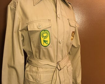 SALE Vintage Zoo Docent Uniform Safari Shirt Lincoln Park Zoo Jacket