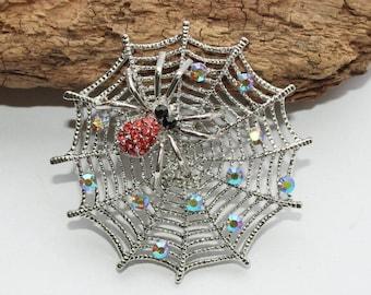 Brooch, spider, spider web, vintage brooch, rhinestones, glitter brooch