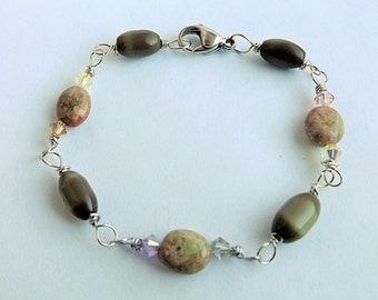Olive Green Bracelet | Jasper and Cats Eye Glass | Olive Cats Eye Glass | Green Glass | Jasper Stone