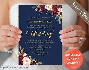 4 Double sided Navy Wedding Invitation Set Templates, Printable Burgundy Floral Gold foil Invites Suite, Fits Vistaprint, PDF Download #109