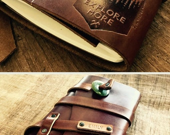 50% OFF --  Personalized Leather Journal -- Explore More Brand - Handmade in Portland, Oregon... Sale TODAY!