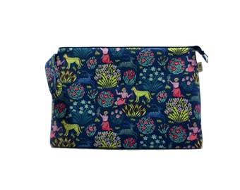 Knitting Project Bag, Garden of Splendor in Midnight - Jumbo, Crochet Bag, Sweater Project Bag, Knitting Organizer, Flowers, Birds