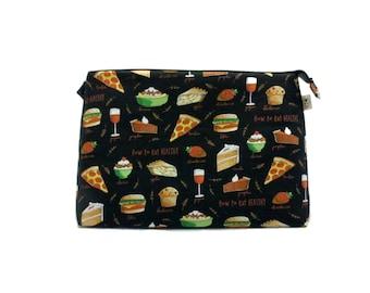 Knitting Project Bag, How to Eat Healthy - Jumbo, Crochet Bag, Sweater Project Bag, Knitting Organizer, Food