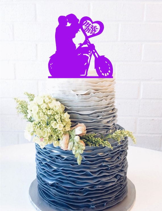 sitting motorcycle couple wedding cake topper motorcycle cake topper