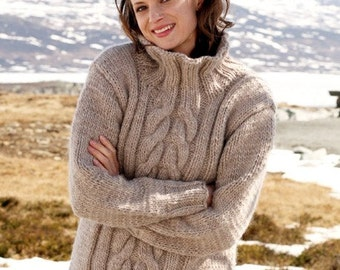 Oversized sweater cable knit sweater turtleneck sweater chunky sweater hand knit sweater wool sweater women alpaca sweater knit jumper