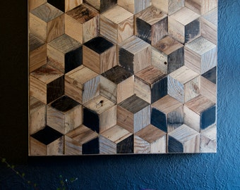 Reclaimed Wood Hexagon Pattern Wall Art