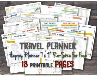 Vacation planner Travel happy planner printable inserts arc discbound trip journal _ Any Resize is FREE