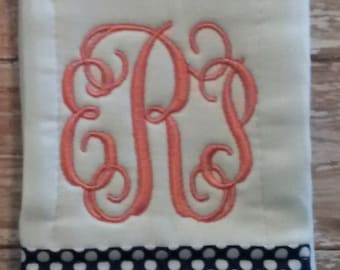 Monogrammed Burp Cloth- Baby Girl Burp Cloth, Baby Boy Burp Cloth, Personalized Burp Cloth