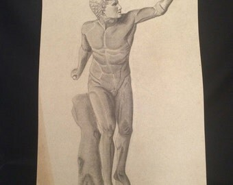 Vintage Art School Project Done Start of Mid Century Graphite on Paper Naive Outsider Unframed Classical Style Signed Illegibly 1940s 1950s