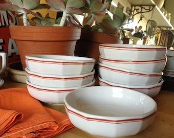 Vintage French Apilco cereal or dessert bowls, set of 8