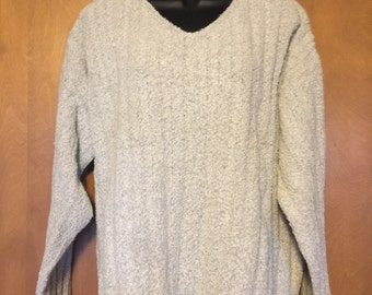 J. Jill Salt and Pepper Mottled Slubbed Knit High V-neck Sweater in Misses Medium