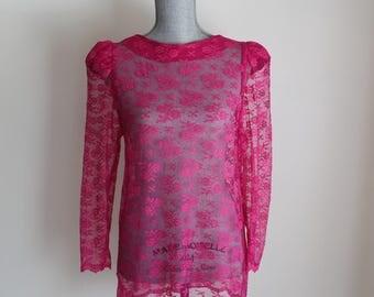 Fuschia Lace Blouse Size Medium Long Cap Sleeves 80s Sheer Pink Shirt Top
