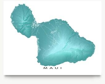 Maui Map Print, Maui Art, Maui Hawaii USA, Haleakala, Hana Highway