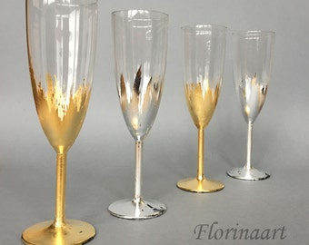 Gold Wedding glasses, Gatsby Style wedding glasses, Champagne Flutes, Gold glasses Set of 2