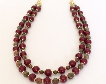 Double Strand Red Necklace Red Double Strand Necklace Red Beaded Bib Necklace Multi Strand Layered Necklace Multi Color Stone Necklace Gift