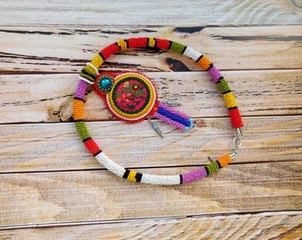 Colorful necklace, red statement necklace, embroidery necklaces