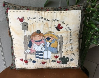 Painted Pillow ,  Simple Pleasures/Friendship Pillow  with Embroidered Verse , Applique Pillow , Painted and Embroidered Room Decor