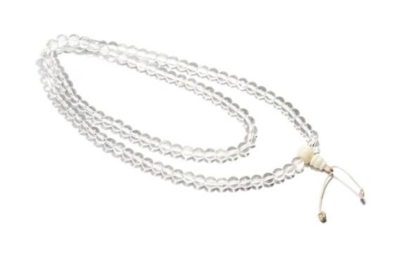 Mala Meditation Beads Clear Onyx 108 Mala beads Yoga Jewellery Prayer Beads Buddhist Free UK Delivery + Gift Bag M8