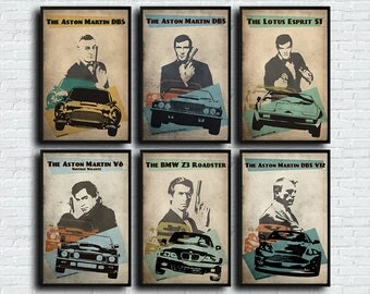 James Bond poster set 007 alternative poster set James Bond car film poster set movie poster set Car poster set Sean Connery Daniel Craig