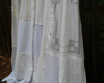Shabby Chic Shower Curtain/Vintage embroidery/Vintage Placemats/Vintage Napkins/ Vintage Cutwork Embroidery/Cottage Chic