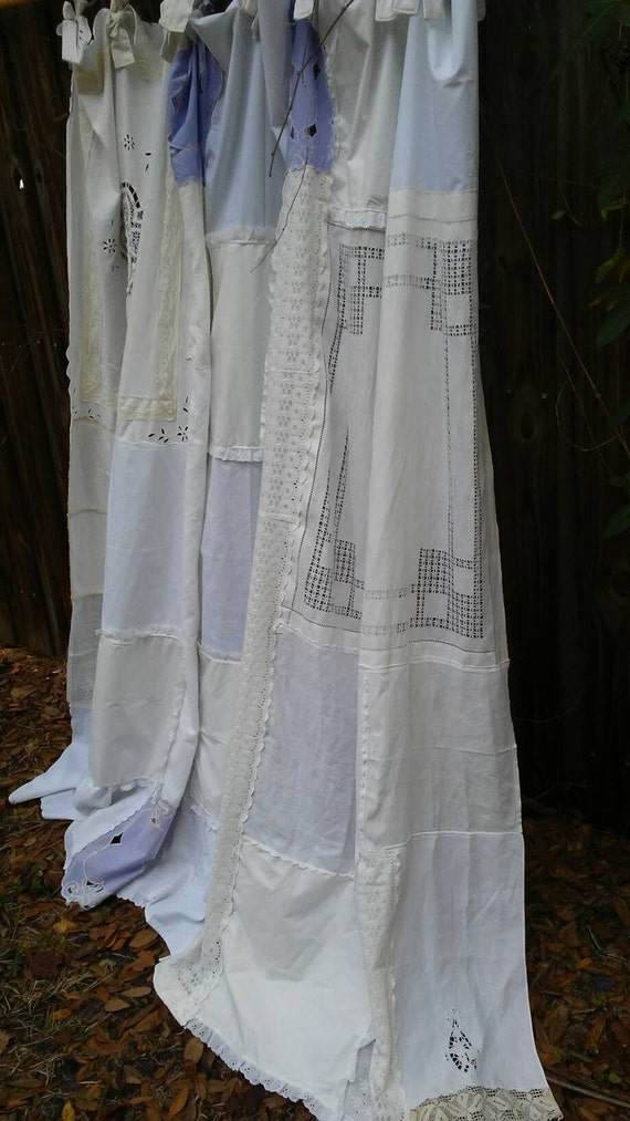 Shabby Chic Shower Curtain Vintage Embroidery Vintage