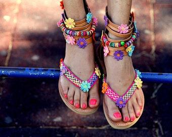 "Sandals ""Les Fleurs"" (handmade to order)"