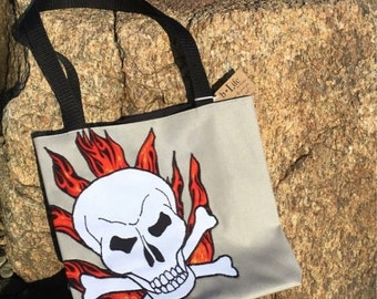 Skull Canvas Bag, Nautical Canvas Handbag with Skull and Crossbones Applique, Lining, Canvas Tote