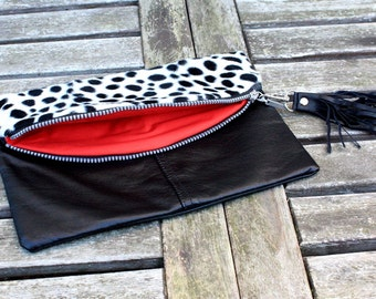 UPCYCLED Leather Clutch, Recycled Leather Clutch, Leather Bag, Leather Clutch, Pouch, Tassel