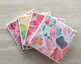 Tile Coasters, Marbelized Coasters, Pink Coasters, Set of 4 Coasters