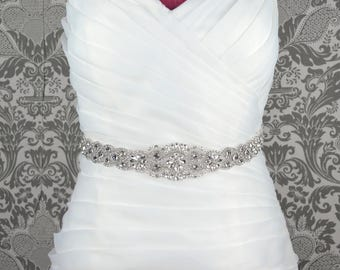Rich Crystal Bridal Belt - Rhinestone Embellishment Sash Jeweled Wedding Prom Bridesmaid Dress Applique - Style 8