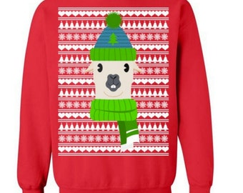 Funny Lama Sweater Ugly Christmas Sweater Winter Sweater for Winter Sweater for Christmas Party Sweater Funny Christmas Gift #OS233
