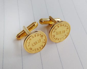 Date And Coordinates Cufflinks,Personalized Wedding Cufflinks,Gold Engraved Cufflinks,Engraved Coordinate Cufflinks for Groom,Christmas Gift