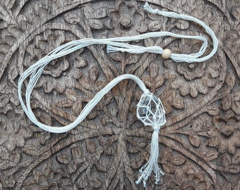 Collar cotton Micro-macrame, pendant Crystal rock, Lithotherapy, Yoga, Meditation, Zen, minimalist