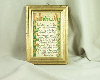 "Framed quotation  ""The Book of Life"" by Alphonse de Lamartine (1790-1869) french poem with golden illuminationsMade in France"