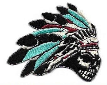Skull in Feather Headdress Embroidered Patch / Iron On Applique