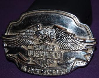 vintage belt buckle / harley davidson belt buckle / eagle belt