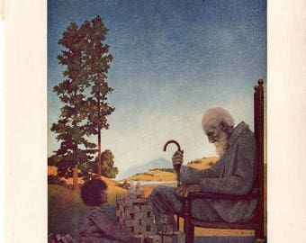 Authentic Antique Maxfield Parrish Print 1909 Shuffle-Shoon and Amber Locks