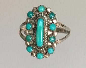 Vintage Zuni Petit Point Turquoise Sterling Silver Ring. Possibly Old Pawn.  Estate Native American. Size 6.