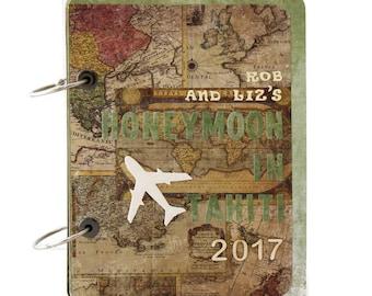 Tahiti Honeymoon Travel Journal - Wedding Gift For Couple - Newlyweds Gift - Personalized Wanderlust Journal - Vintage Style Travel Album