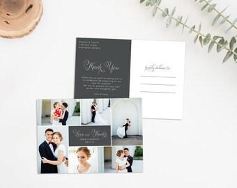 Rustic Wedding Thank You Postcard, Printable Photo Thank You, Wedding Thank You Card