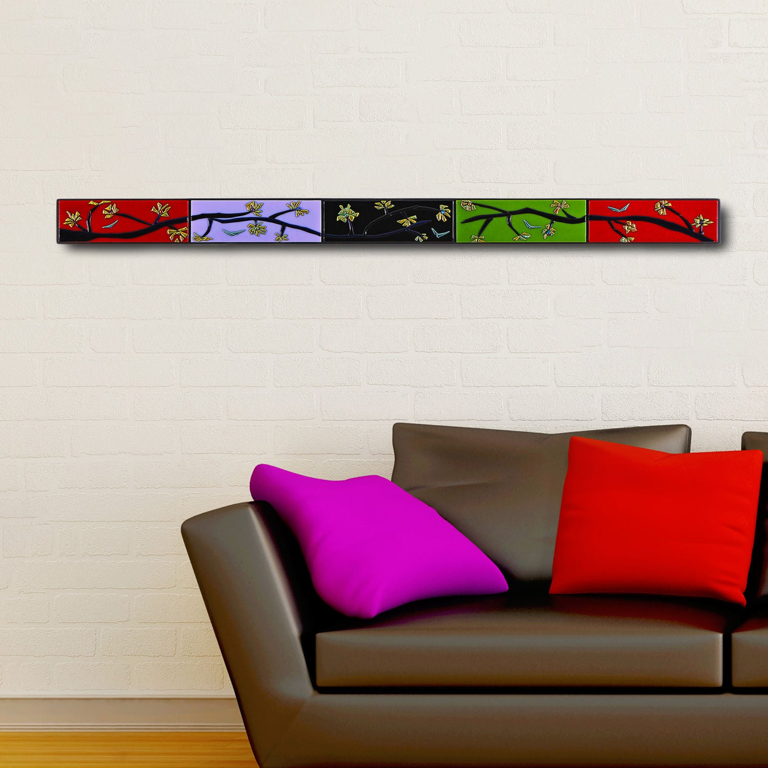 Horizontal Wall Decor tall narrow abstract wall art. 4 ft modern zen home decor.