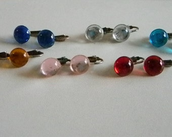 Set of 6 - Round Plastic Button Translucent Colored Clip Earrings